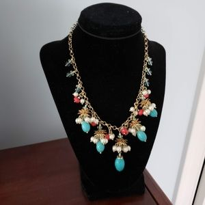 Turquoise tear drops red in gold classy Necklace